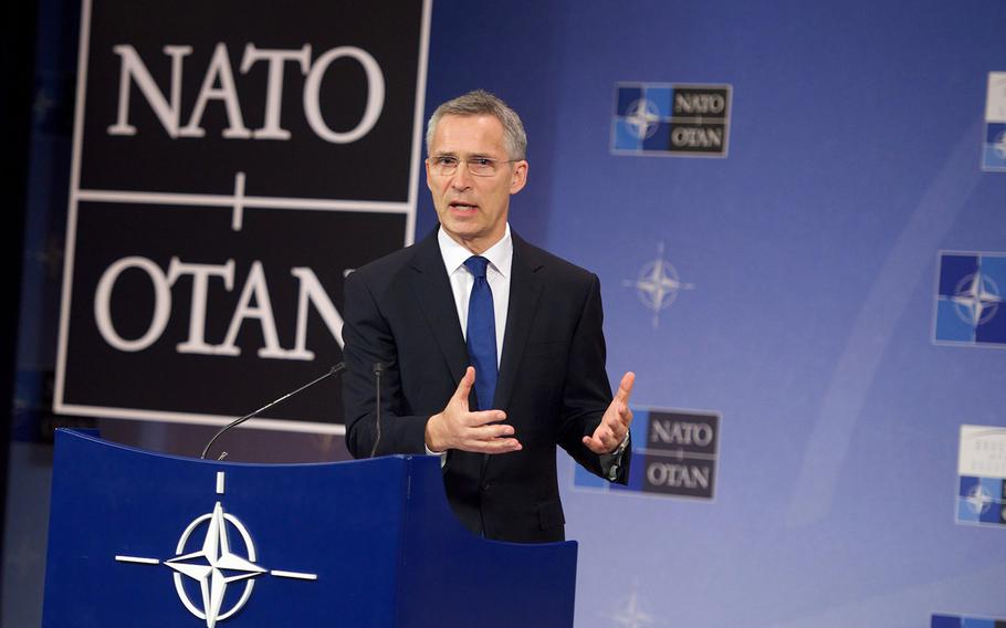 NATO Secretary-General Jens Stoltenberg gives a news conference ahead of the Meeting of NATO Heads of State and Government in Brussels on Wednesday, May 24, 2017.