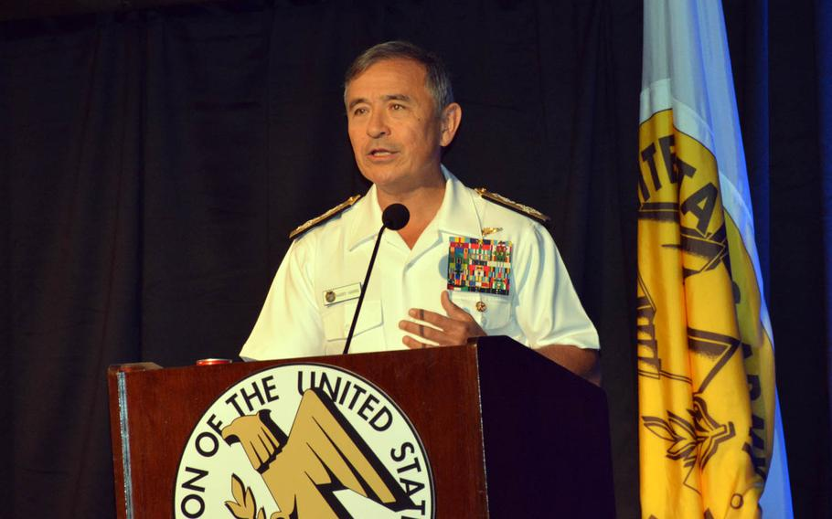 Adm. Harry Harris, head of U.S. Pacific Command, speaks at the LANPAC military conference in Honolulu, Wednesday, May 24, 2017.