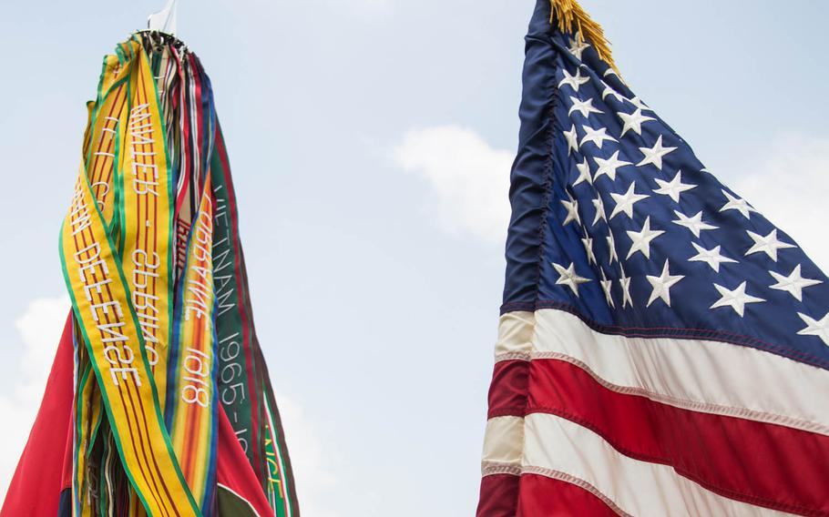 The 1st Armored Brigade Combat Team, 1st Infantry Division's unit colors and campaign streamers at Camp Humphreys, South Korea, Wednesday, May 24, 2017.