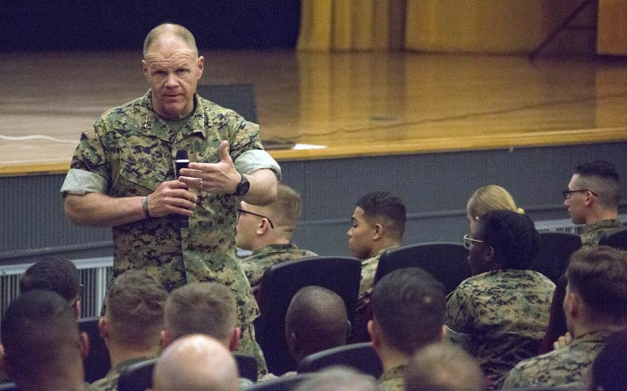 Commandant of the Marine Corps Gen. Robert Neller speaks to Marines at Camp Foster, Okinawa, in April.