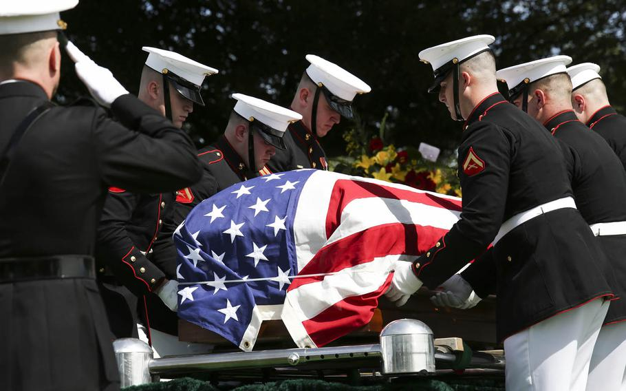 Marines from Marine Corps Barracks Washington, D.C., place 1st Lt. Alexander Bonnyman Jr. near his final resting place at Berry Highland Memorial Cemetery in Knoxville, Tenn., on Sept. 27, 2015. Bonnyman was killed in the Battle of Tarawa in 1943. His remains were discovered 72 years after he was buried there.