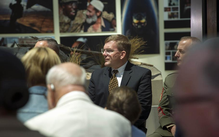 Mark Noah, founder and executive director of History Flight, receives the title of honorary Marine during a ceremony at the National Museum of the Marine Corps, Triangle, Va., July 24, 2015. With Noah at the helm, History Flight has repatriated the remains of several hundred Marines and sailors deemed unrecoverable that were killed in action during the Battle of Tarawa of World War II.