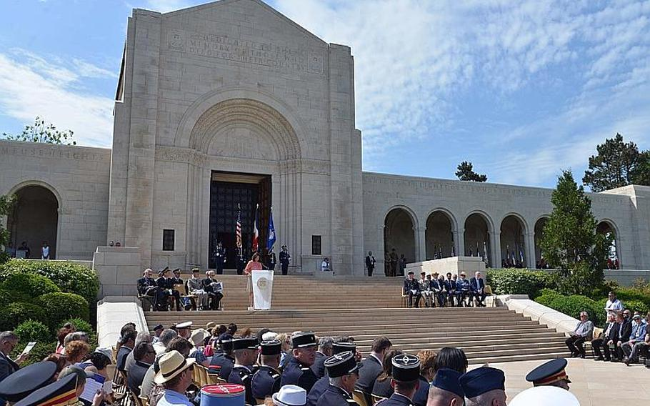Ezra Zeya, charge d' affairs of the U.S. Embassy in Paris, gives the memorial address at the Memorial Day ceremony at Meuse-Argonne American Cemetery in Romagne-sous-Montfaucon, France, Sunday May 28, 2017.