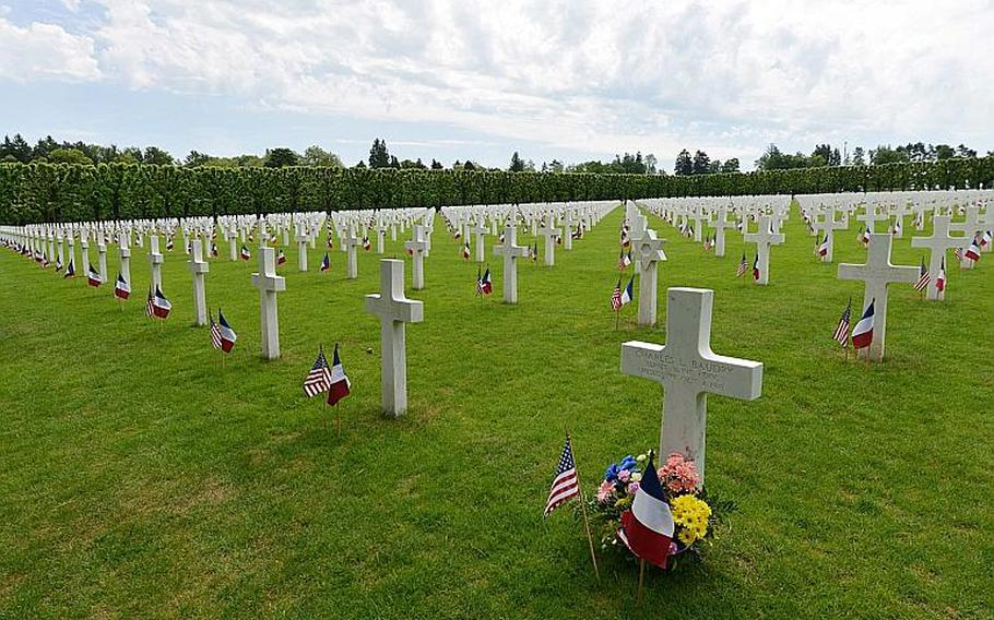 Each of the 14,246 graves at Meuse-Argonne American Cemetery are decorated with an American and a French flag for the Memorial Day ceremony in Romagne-sous-Montfaucon, France, Sunday May 28, 2017.