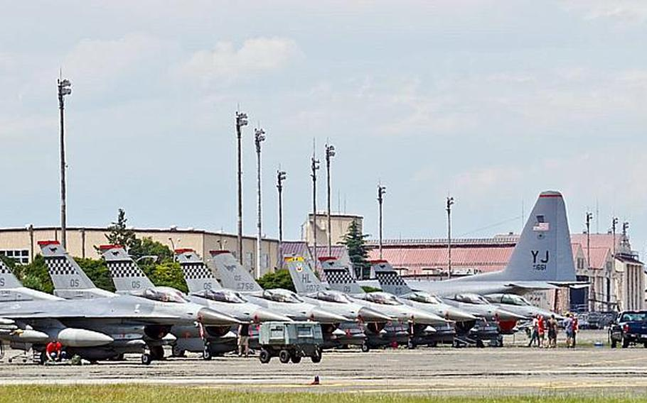 U.S. F-16 Fighting Falcons assigned to the 36th Fighter Squadron at Osan Air Base in South Korea are parked on the tarmac at Yokota Air Base, Japan, on June 2, 2017.