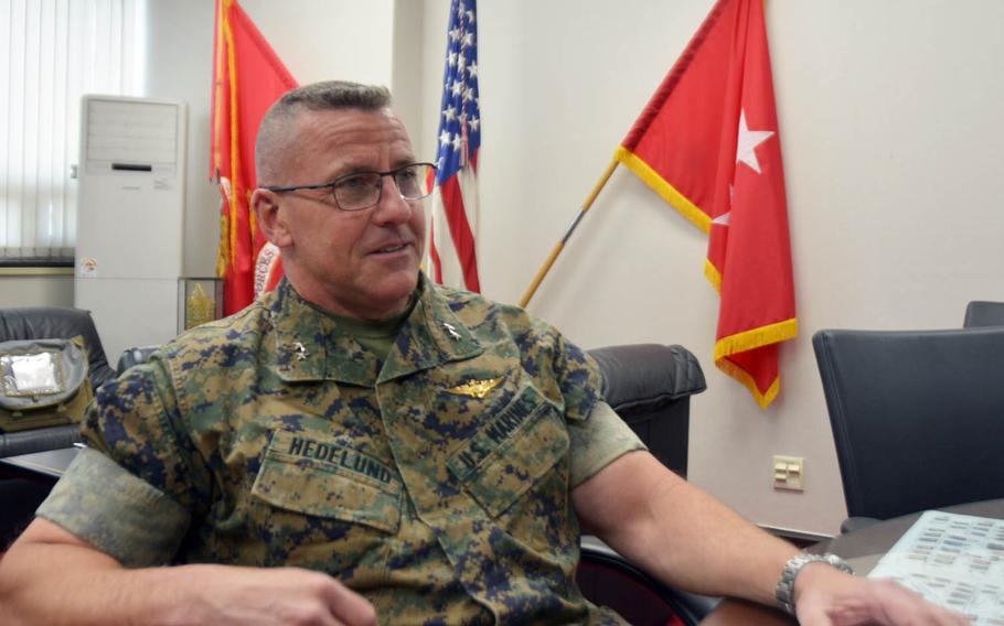Maj. Gen. Robert Hedelund, the outgoing commander of U.S. Marine Forces Korea, said he has about 75 Marines on his staff and their main mission is fostering the relationship with South Korean forces and facilitating training exercises.