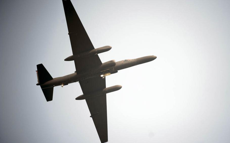 An Air Force U-2 Dragon Lady flies over Osan Air Base, South Korea, Sept. 24, 2016. The U-2, from the 5th Reconnaissance Squadron, is a high-altitude, all-weather surveillance and reconnaissance aircraft.
