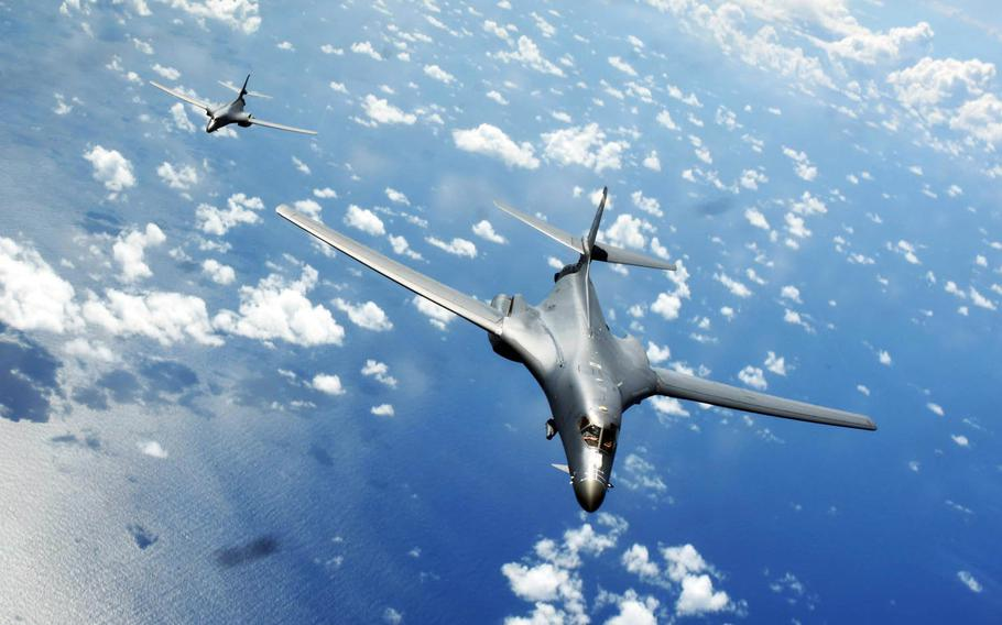 Two Air Force B-1B Lancers fly a 10-hour mission from Andersen Air Force Base, Guam, through the South China Sea, while operating with the Navy's guided-missile destroyer USS Sterett, Thursday, June 8, 2017.