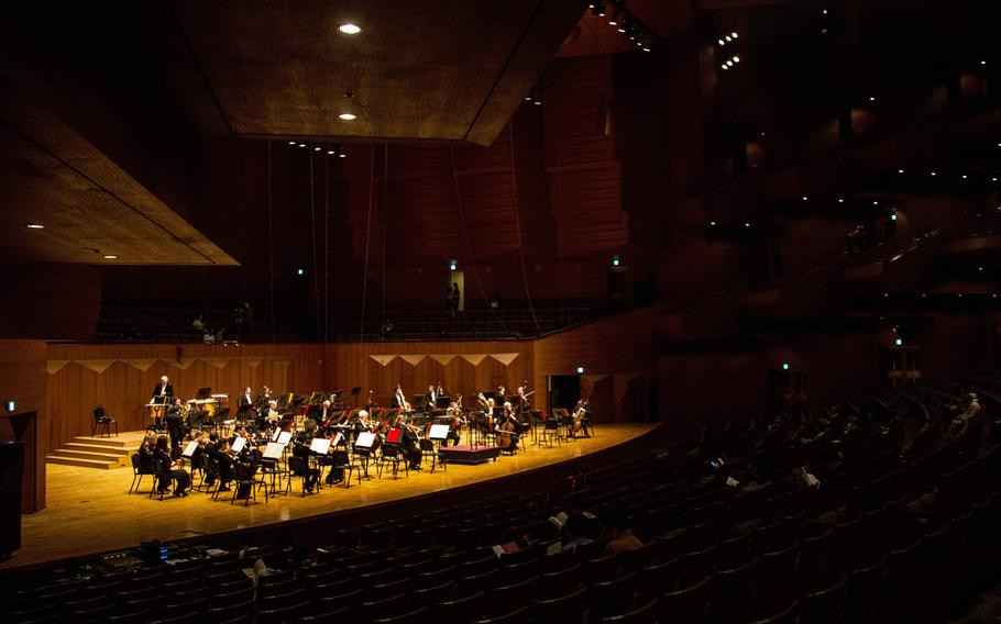 The Philadelphia Orchestra warms up before a concert at the Seoul Arts Center's Music Hall, Thursday, June 8, 2017.