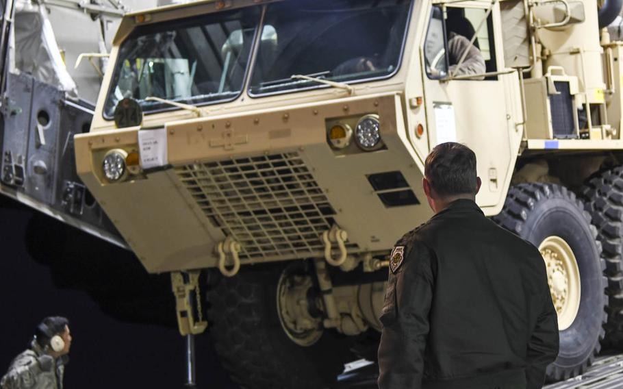 Components of a Terminal High Altitude Area Defense, or THAAD, anti-missile system arrive at Osan Air Base, South Korea, in March 2017.