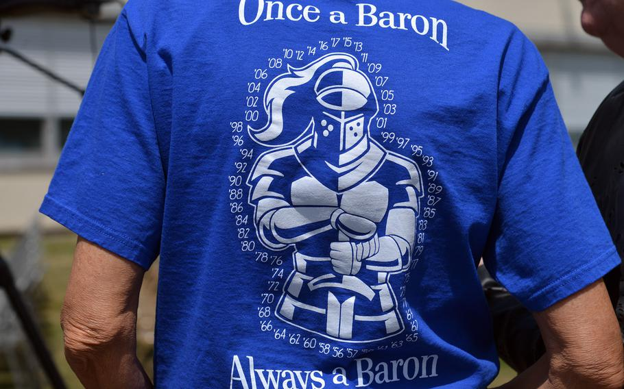 T-shirts like this one were seen at the Bitburg High School closing ceremony in Bitburg, Germany, Thursday, June 8, 2017.