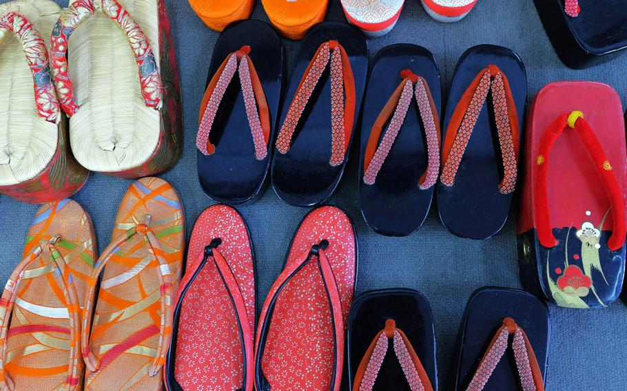 Traditional sandals worn with kimonos are seen during a charity event at Yokosuka, Japan, Sunday, June 11, 2017.