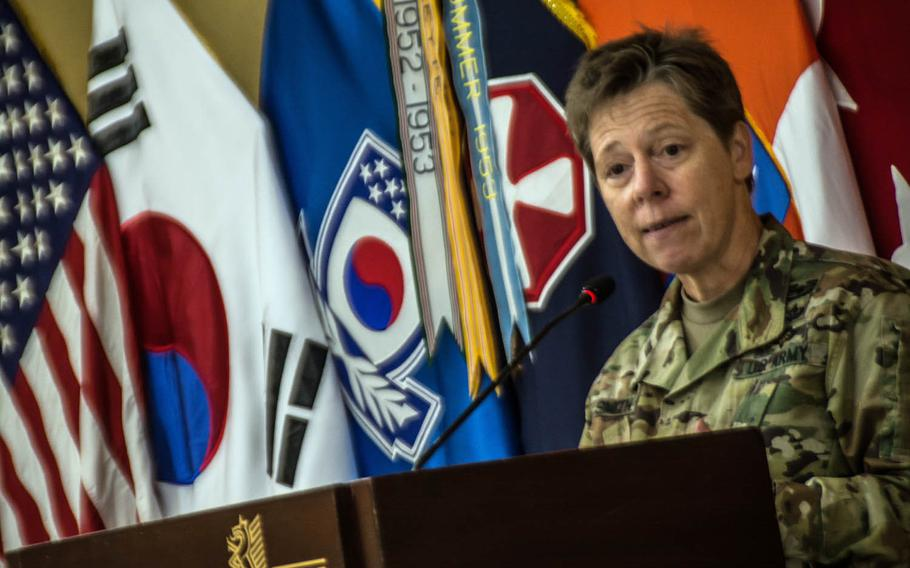 Maj. Gen. Tammy Smith, deputy general of the 8th Army, tells her story about being a gay soldier during an LGBT observance at Yongsan Garrison, South Korea, Thursday, June 15, 2017.