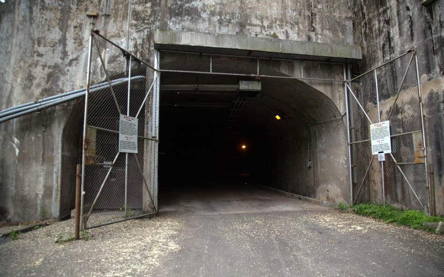 The entrance to the underground training facility at Camp Stanley, South Korea, Tuesday, May 23, 2017.