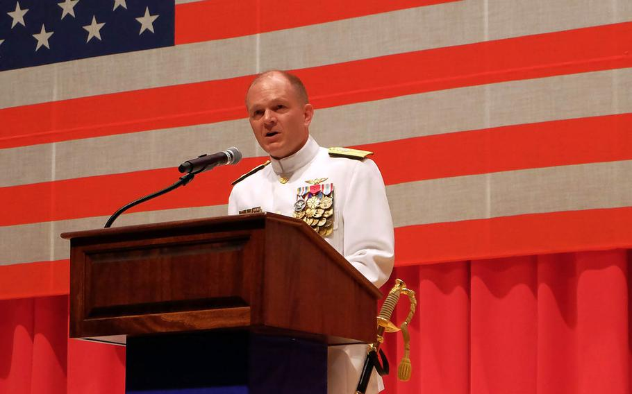 Incoming Naval Forces Japan Commander Rear Adm. Gregory Fenton speaks during a change-of-command ceremony at Yokosuka Naval Base, Japan, Friday, June 16, 2017.