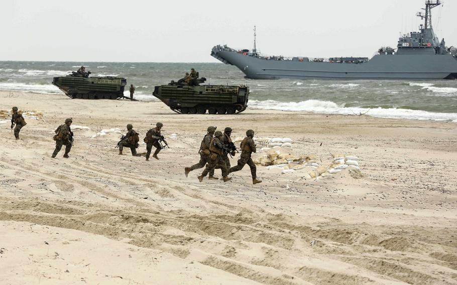 U.S. Marines from U.S. Marine Forces Europe-Africa participate in an amphibious landing demonstration Wednesday, June 14, 2017, as part of exercise BALTOPS 201 in Ustka, Poland.