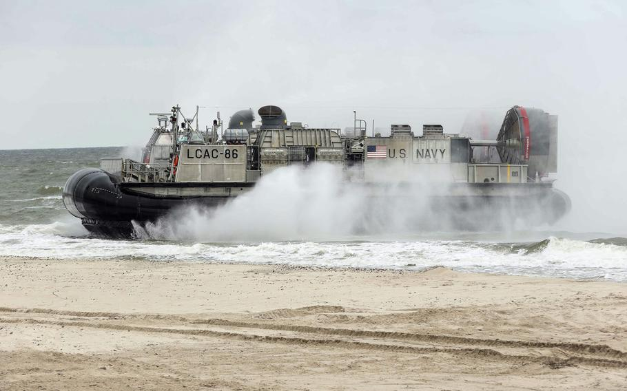 A landing craft, air cushion,  lands on the beach in Ustka, Poland, for an amphibious assault landing demonstration June 14, 2017, as part of exercise BALTOPS 2017. BALTOPS 17 is the premier annual maritime-focused exercise in the Baltic region and one of the largest exercises in Northern Europe.