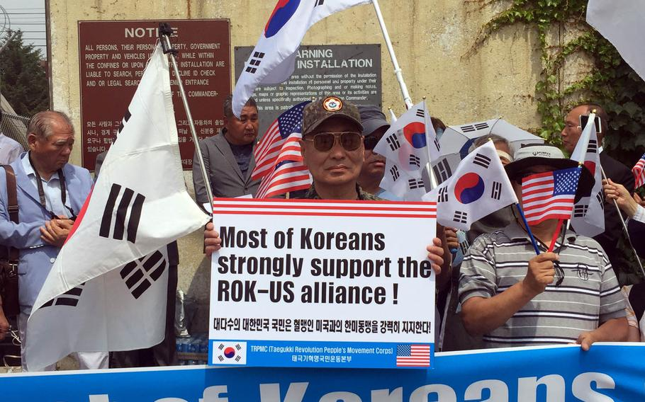 Dozens of South Koreans rally outside Camp Red Cloud to show support for U.S. forces, Monday, June 19, 2017. The rally happened more than a week after several singers boycotted a concert organized by the city of Uijeongbu to celebrate the 2nd Infantry Division's centennial.