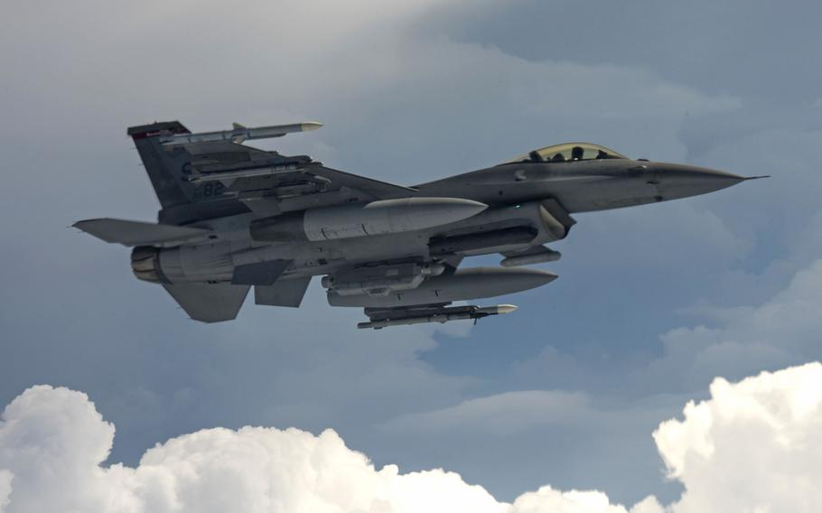 A U.S. Air Force F-16 Fighting Falcon over Germany, May 30, 2017. A NATO F-16 was scrambled Wednesday to intercept an aircraft carrying the Russian defense minister  over the Baltic Sea