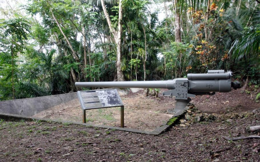 A Japanese canon stands on a Guam mountainside and is now part of a National Park Service display of World War II artifacts. Local Guam residents were forced to help build this and other defense emplacements in advance of the anticipated invasion by American forces in 1944.