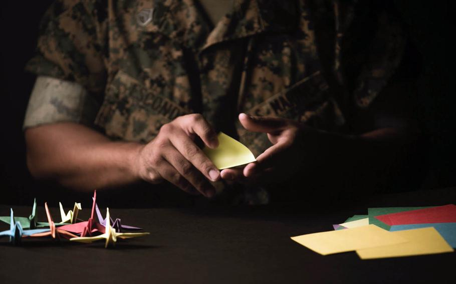 Staff Sgt. Ismael Esconde has folded thousands of cranes and donated them to area hospitals, nursing homes and Japanese civic organizations where he has been stationed over the past year to show appreciation to the Japanese allies of the United States.