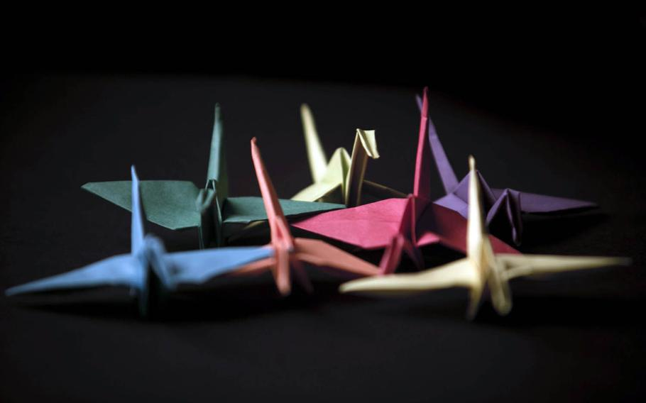 Paper cranes folded by Marine Staff Sgt. Ismael Esconde, 32, a substance abuse control officer with Headquarters and Service Company, 3rd Battalion, 3rd Marine Regiment in Hawaii.