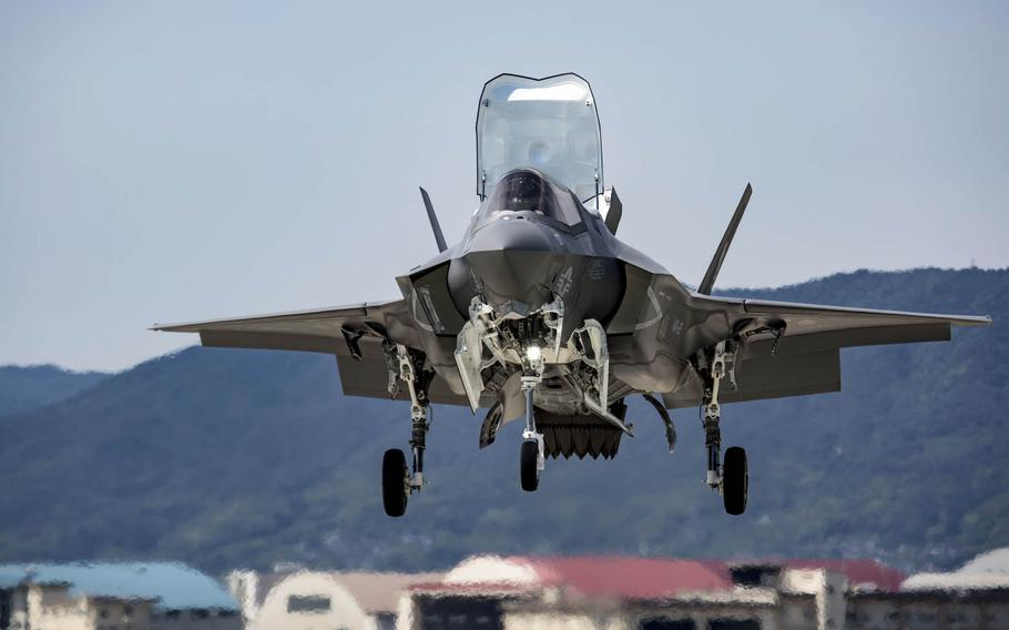 A Marine Corps F-35B Lightning II hovers before a vertical landing at Marine Corps Air Station Iwakuni, Japan, June 13, 2017.