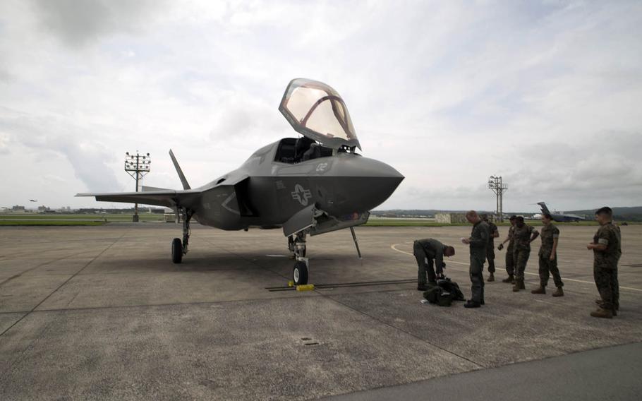 A Marine Corps F-35B Lightning II with Marine Fighter Attack Squadron 121, Marine Aircraft Group 12, 1st Marine Aircraft Wing, conducted a training flight from Marine Corps Air Station Iwakuni to Kadena Air Base on Okinawa, Japan, Monday, June 26, 2017.