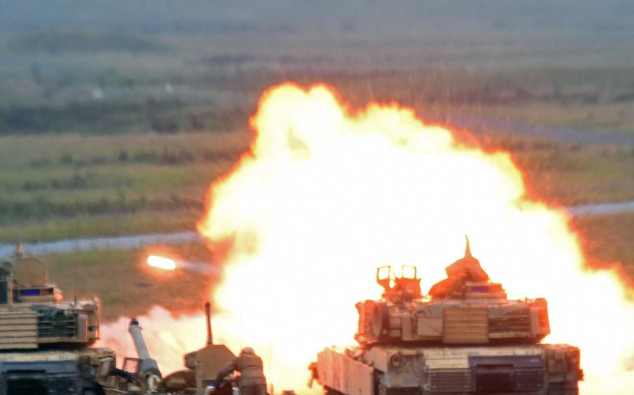 A tank round is fired from an M1A2 Abrams tank during live-fire training at Grafenwoehr, Germany, Tuesday, June 27, 2017. Army tankers with the 1st Battalion, 68th Armored Regiment, 3rd Armored Brigade Combat Team,  based at Fort Carson, Colo., are on rotation as part of Operation Atlantic Resolve.