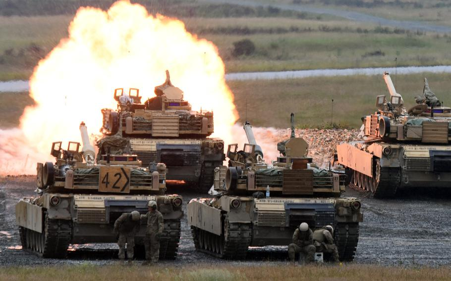 U.S. Army tankers fire on a target from an M1 Abrams Main Battle Tank during live-fire training at Grafenwoehr, Germany, Tuesday, June 27, 2017. Army tankers with the 1st Battalion, 68th Armored Regiment, 3rd Armored Brigade Combat Team,  based at Fort Carson, Colo., are on rotation as part of Operation Atlantic Resolve.