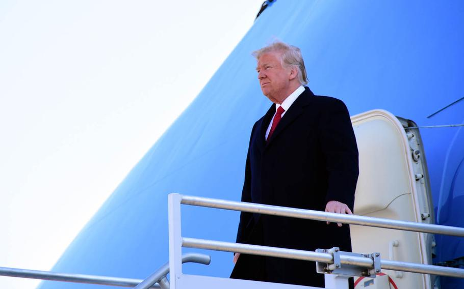 President Donald Trump exits Air Force One at Berry Field Air National Guard Base, Nashville, Tenn., March 15, 2017.