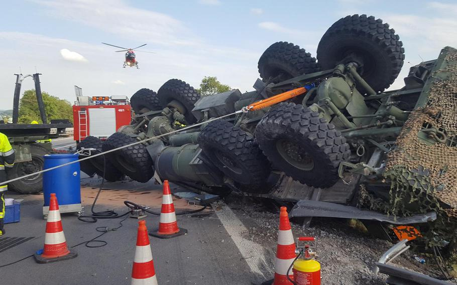 The aftermath of a crash of a military truck in southern Germany which injured two US soldiers on Wednesday, June 28, 2017.