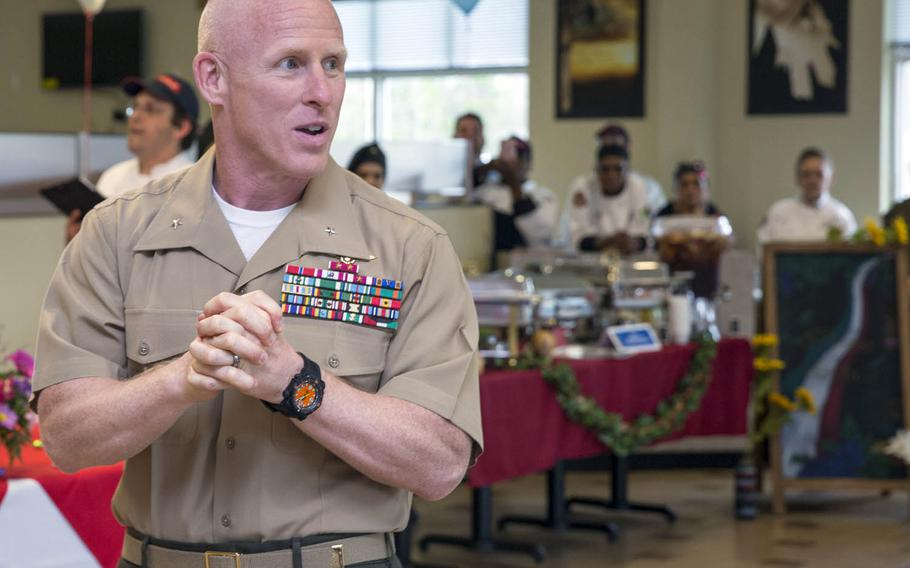 Brig. Gen. Thomas Weidley took command of III Marine Expeditionary Force's 1st Marine Aircraft Wing during a ceremony at Marine Corps Air Station Futenma, Okinawa, Thursday, Jun 29, 2017.