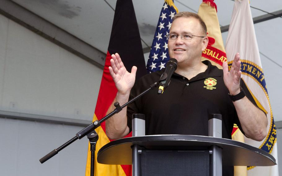 Col. Todd Fish, commander of U.S. Army Garrison Wiesbaden, speaks to visitors at the opening of the 4th annual German-American Friendship Fest on the Hainerberg housing area in Wiesbaden, Thursday, June 29, 2017. Fish and Wiesbaden mayor Sven Gerich officially declared the fest open after tapping a ceremonial keg of beer.