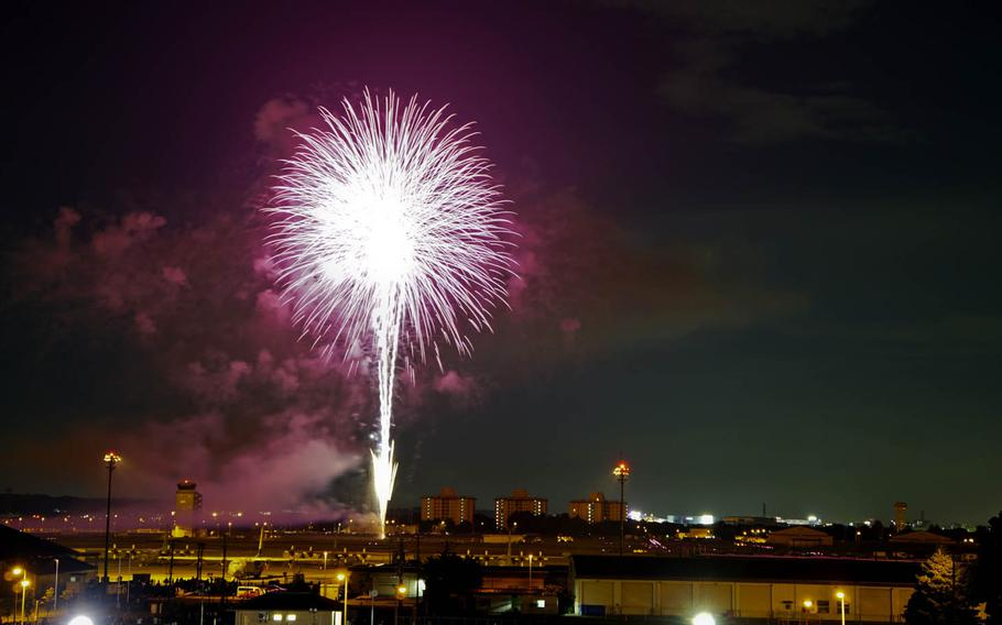 Fireworks light up the up the night sky over Yokota Air Base during annual Celebrate America festivities in western Tokyo, Friday, June 30, 2017.