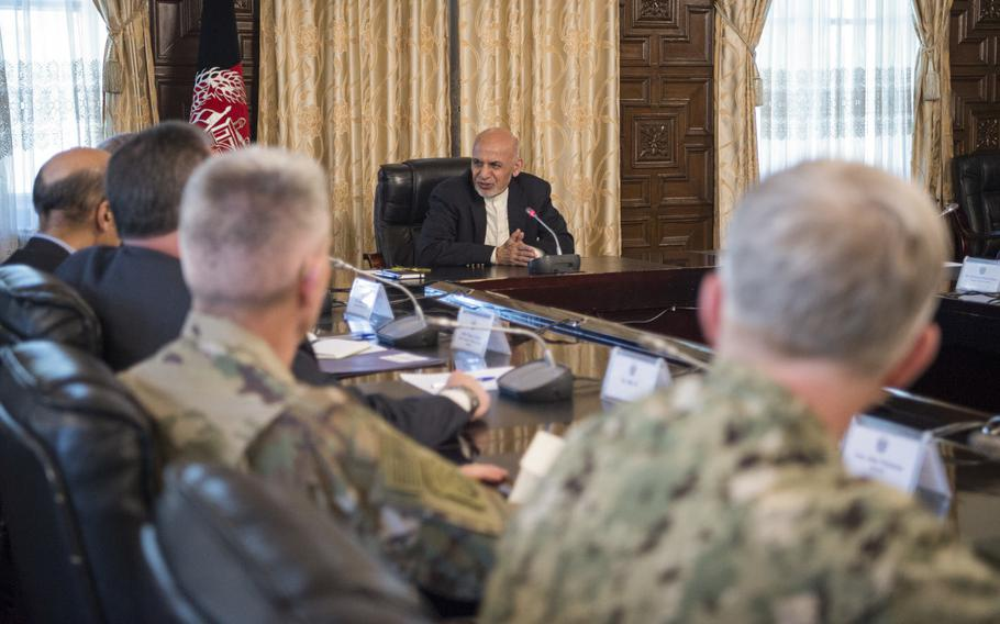 Afghan President Ashraf Ghani at the presidential palace in Kabul during a meeting with Defense Secretary Jim Mattis in April. The United Nations said on Monday, July 17, 2017, that the war had claimed a record number of civilian lives in the first half of this year.