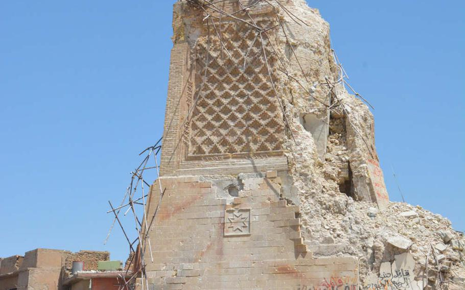 The base of al-Hadba, Mosul's famous leaning minaret on Thursday, July 20, 2017. The minaret and the Great Mosque of al-Nuri were blown up by the Islamic State group last month.