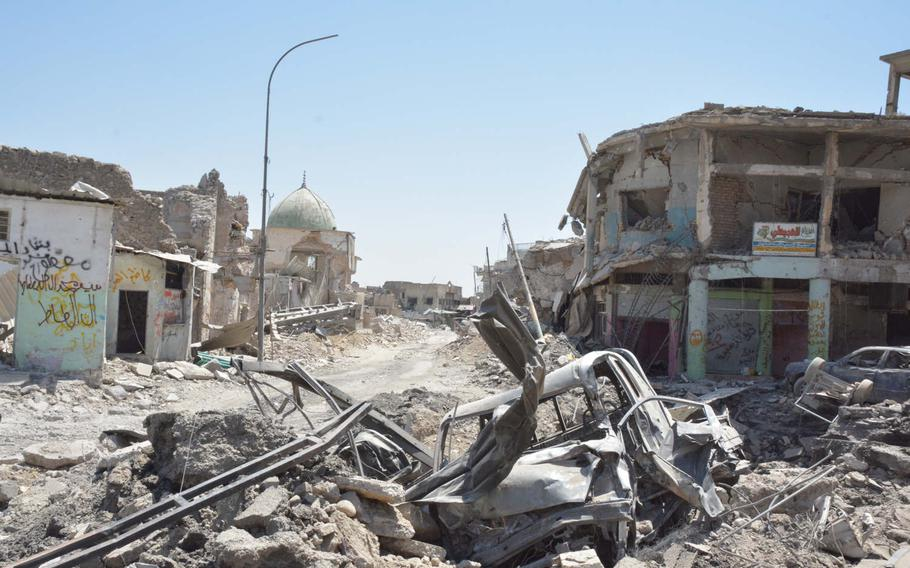 Battle damage near the ruins of the Great Mosque of al-Nuri in Mosul's Old City on Thursday, July 20, 2017.