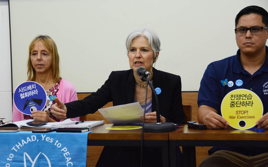 Former Green Party U.S. presidential candidate Jill Stein, center, speaks at a press conference with fellow U.S. activists Medea Benjamin, left, and Will Griffin in Seoul, South Korea, Tuesday, July 25, 2017. The delegation visited South Korea to show solidarity with opponents of the U.S. missile defense system known as THAAD.