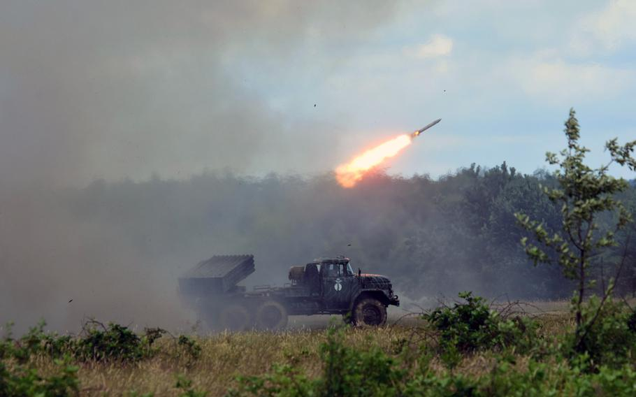 A Ukrainian BM-21 Grad Multiple Rocket Launcher fires a rocket during a training exercise with the Joint Multinational Training Group-Ukraine, in Yavoriv, Ukraine, June 30, 2017.