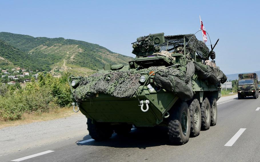 A Stryker of the U.S. 2nd Cavalry Regiment moves to Vaziani Military Base, Georgia, for Noble Partner 17. During the exercise, U.S. soldiers are training Georgian infantrymen on how to more effectively defend their borders.