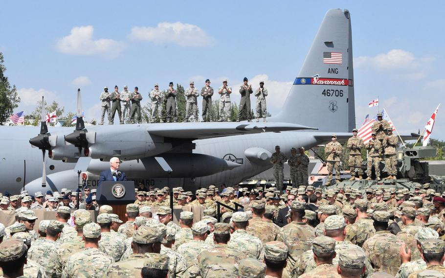 Vice President Mike Pence visited American and Georgian military leaders and soldiers during a visit to the Georgian capital of Tbilisi, Tuesday, Aug. 1, 2017. The U.S.  soldiers are in Georgia for Noble Partner 2017, a U.S. Army Europe-led exercise hosted at Vaziani and Camp Norio training areas in Georgia.