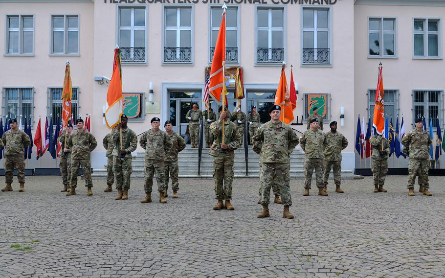 Soldiers of the 5th Signal Command stand in formation during the unit's inactivation ceremony at Clay Kaserne in Wiesbaden, Germany, Friday, Aug. 4, 2017.
