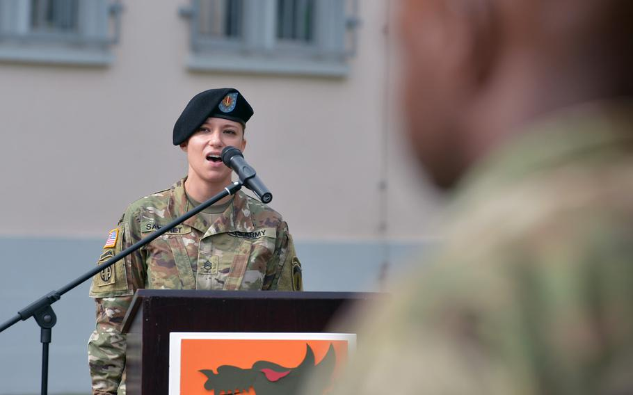 Staff Sgt. Ashley Sangret sang the German and American national anthems at the 5th Signal Command's inactivation ceremony at Clay Kaserne in Wiesbaden, Germany, Friday, Aug. 4, 2017.
