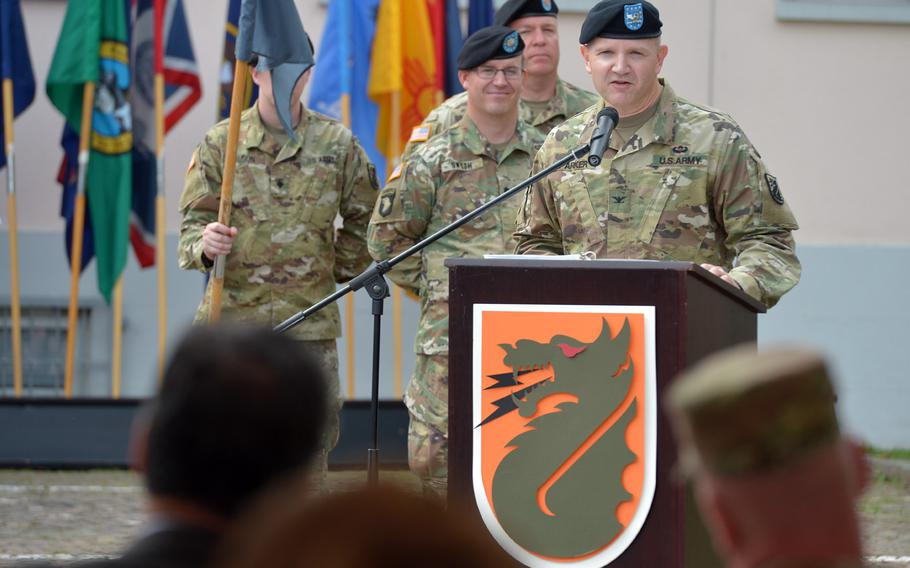 Col. Rob Parker, the last commander of 5th Signal Command, speaks at the unit's inactivation ceremony at Clay Kaserne in Wiesbaden, Germany, Friday, Aug. 4, 2017.