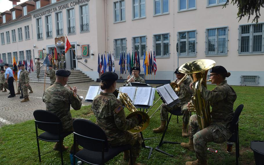 The U.S. Army Europe Band and Choir's brass quintet plays at the 5th Signal Command's inactivation ceremony at Clay Kaserne in Wiesbaden, Germany, Friday, Aug. 4, 2017.