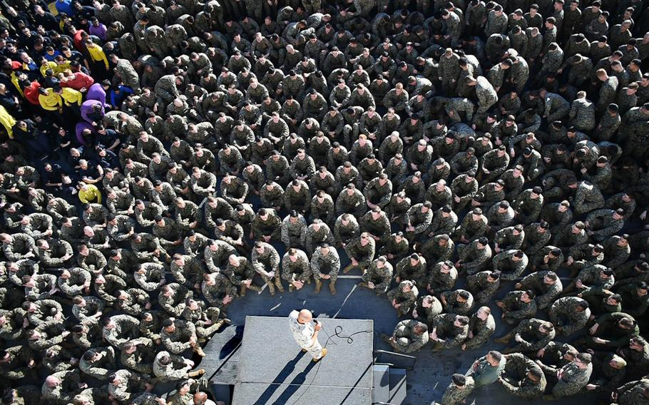 Marine Corps Commandant Gen. Robert B. Neller addresses sailors and marines assigned to the 31st Marine Expeditionary Unit and Bonhomme Richard Expeditionary Strike Group during an all-hands call aboard the amphibious assault ship USS Bonhomme Richard, Tuesday, Aug. 8, 2017, in the Coral Sea.