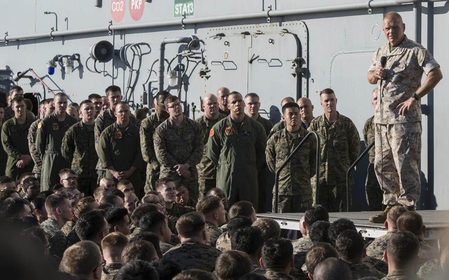 Commandant of the Marine Corps Gen. Robert B. Neller speaks during an all-hands call aboard the amphibious assault ship USS Bonhomme Richard, Tuesday, Aug. 8, 2017, in the Coral Sea. Neller announced new leadership guidelines in July.