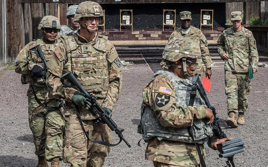 Soldiers assigned to Alpha Battery, 5th Battalion, 7th Air Defense Artillery train on the M4 carbine in Baumholder, Germany on August 2, 2017. The Army is asking for bids on a next-generation weapon that could supplant the M4 and multiple other infantry weapons.