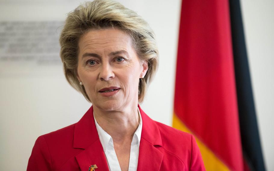 Then-German defense minister Ursula von der Leyen speaks to the press at the George C. Marshall European Center for Security Studies in Garmisch, Germany, June 28, 2017.